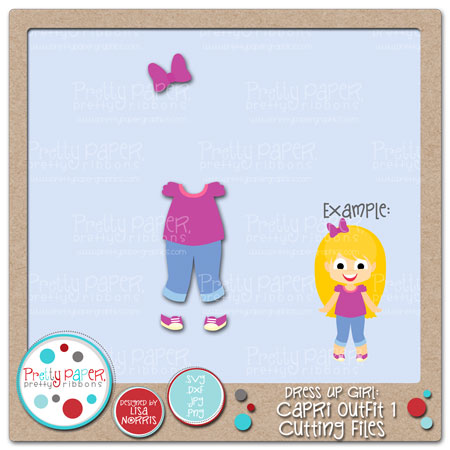 Dress Up Girl Capri Outfit 1 Cutting Files