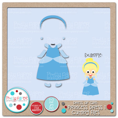Dress Up Girl Princess Dress 1 Cutting Files