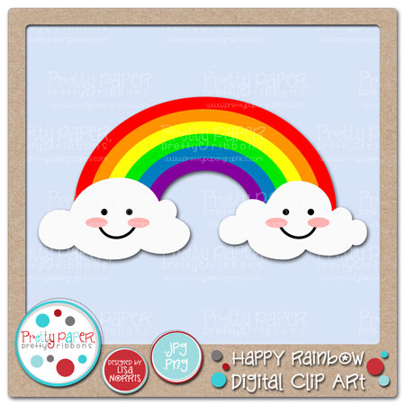 Happy Rainbow Digtal Clip Art