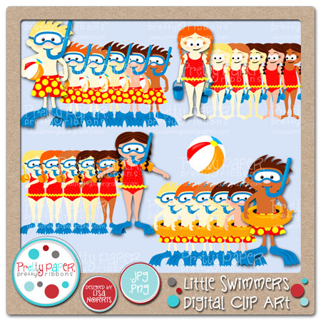 Little Swimmers Digital Clip Art