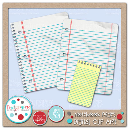 Notebook Pages Digital Clip Art