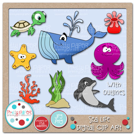 Sea Life Digital Clip Art
