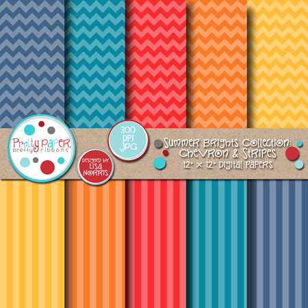 Summer Brights Chevron & Stripes