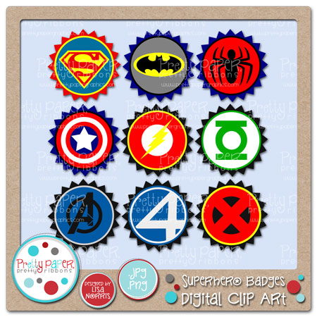 Superhero Badges Digital Clip Art