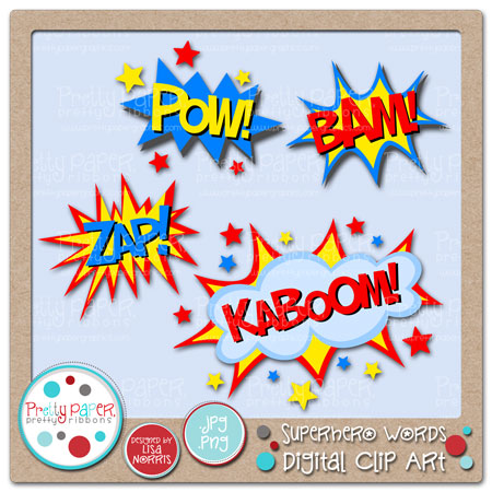 Superhero Words Digital Clip Art