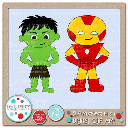 Superheroes H & I Digital Clip Art