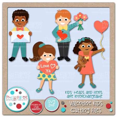 Valentine Kids Cutting Files