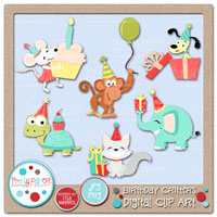 Birthday Critters Digital Clip Art