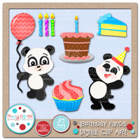 Birthday Panda Digital Clip Art