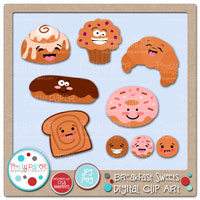 Breakfast Sweets Digital Clip Art