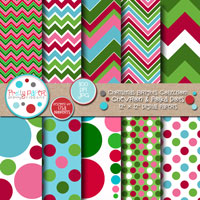 Christmas Brights Chevron & Polka Dots