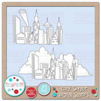 City Skyline Digital Stamps