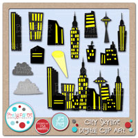City Skyline Digital Clip Art