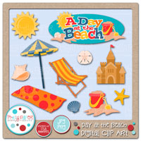 Day at the Beach Digital Clip Art