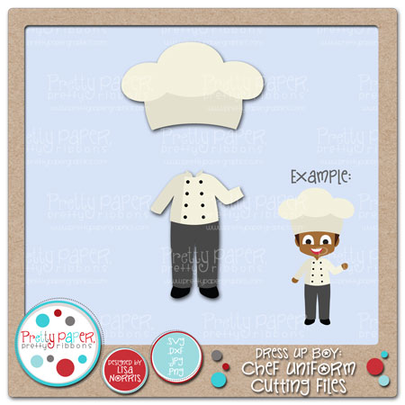 Dress Up Boy Chef Uniform Cutting Files