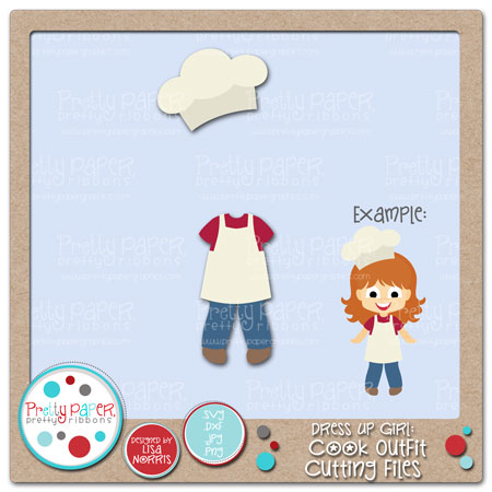 Dress Up Girl Cook Outfit Cutting Files