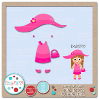 Dress Up Girl Pink Dress Cutting Files