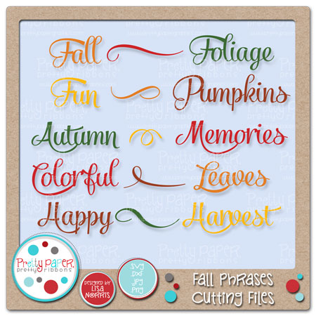 Fall Phrases Cutting Files