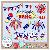 Fantastic Fireworks Digital Clip Art