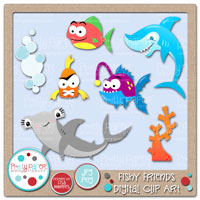Fishy Friends Digital Clip Art