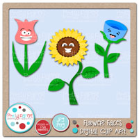 Flower Faces Digital Clip Art
