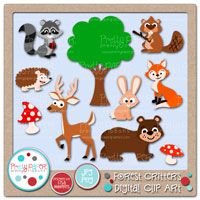 Forest Critters Digital Clip Art