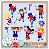 Fourth of July Kids Cutting Files