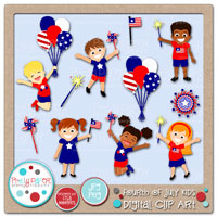 Fourth of July Kids Digital Clip Art