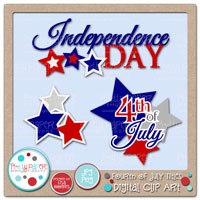 Fourth of July Titles Digital Clip Art
