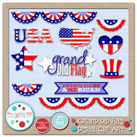 Grand Old Flag Digital Clip Art