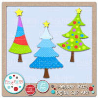 Holiday Trees Digital Clip Art