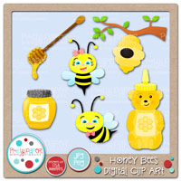 Honey Bees Digital Clip Art