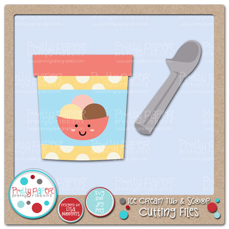 Ice Cream Tub & Scoop Cutting Files