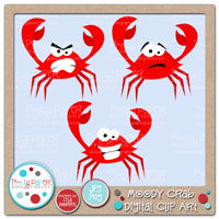 Moody Crab Digital Clip Art