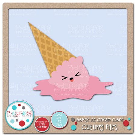 Oopsie Ice Cream Cone Cutting Files