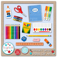 Primary Supplies Digital Clip Art
