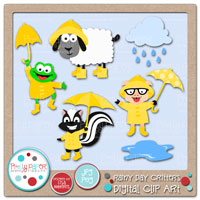 Rainy Day Critters Digital Clip Art