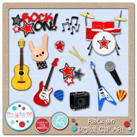 Rock On Digital Clip Art