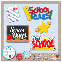 School Titles Digital Clip Art