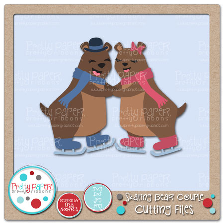 Skating Bear Couple Cutting Files