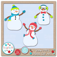 Snow Peeps Digital Clip Art