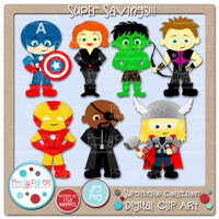 Superheroes Collection Digital Clip Art