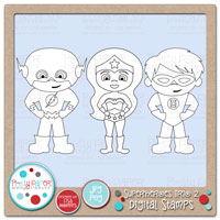 Superheroes Trio 2 Digital Stamps