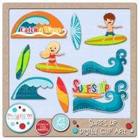 Surf's Up Digital Clip Art