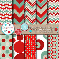 Vintage Christmas Chevron & Polka Dot
